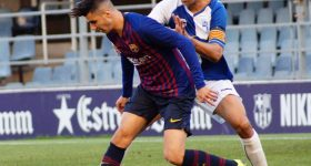 Featured image shows a Barcelona B team player jockeying for possession. Photo via Barcelona B.
