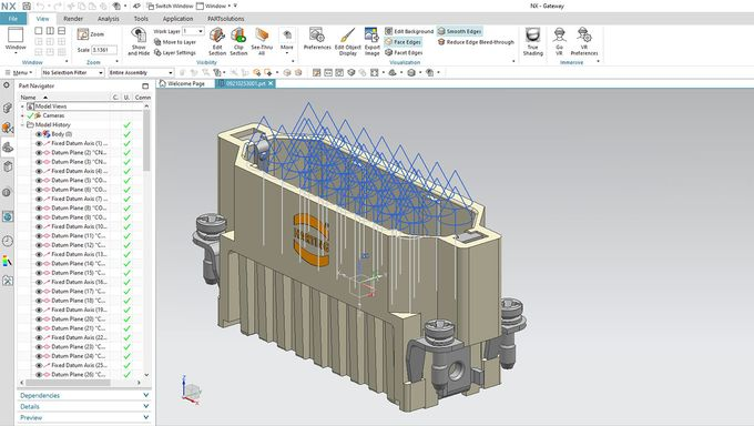 Electrical planning data, along with mechanical dimensions, can now be exported directly into programs like NX Electrical. Image via Cadenas.