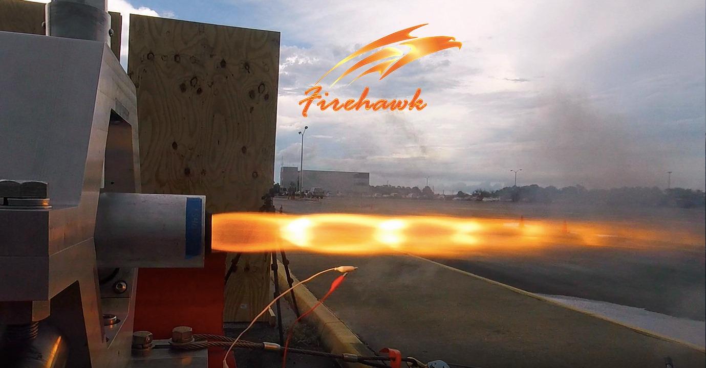 Firehawk performing a burn test on a prototype hybrid engine. Photo via Firehawk Aerospace.