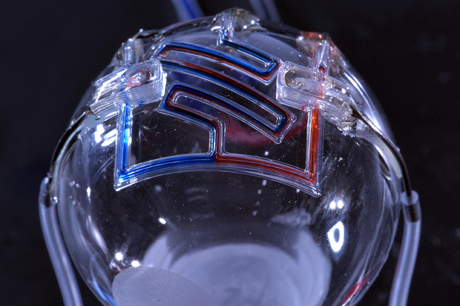 Featured image shows one of the researchers' 3D printed microfluidic devices. Photo via UMN.