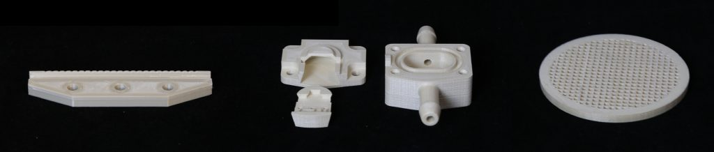 A selection of industrial use cases realized with Nematic 3D Printing technology. Photo via NematX.
