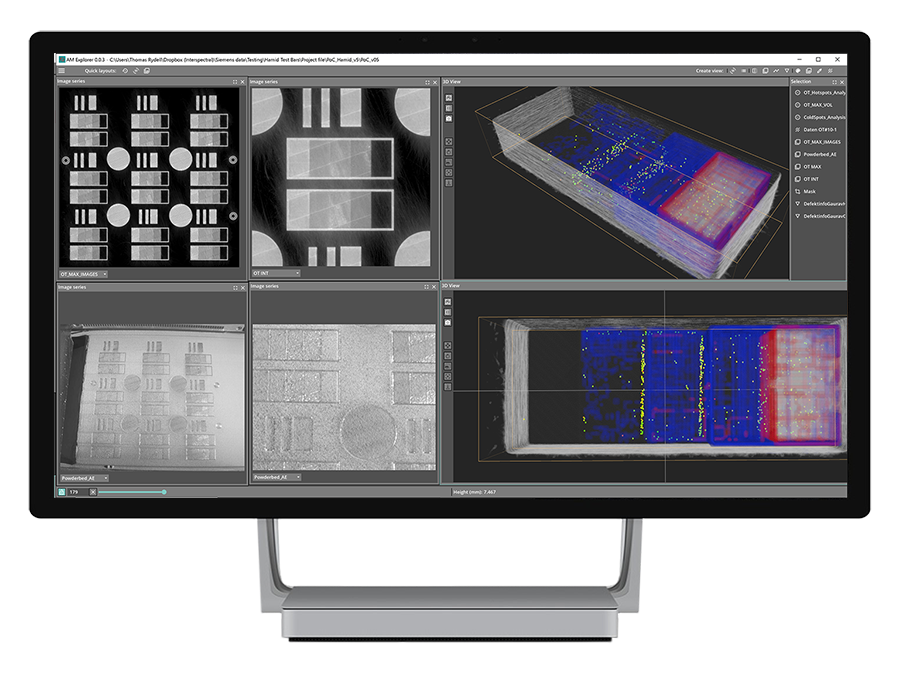 AM Explorer makes it possible to fuse, explore and analyze design files, simulation data, machine monitoring data and post - build metrology data from the metal a dditive manufacturing process in 3D. Image via Interspectral.