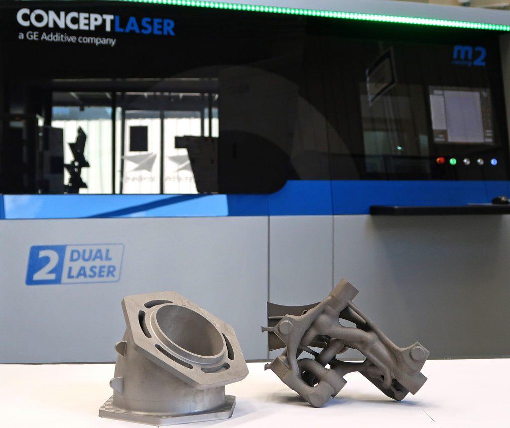 Titanium parts 3D printed on the Concept Laser M2. Photo via GE Additive.