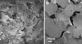 SEM imaging of 3D printed samples post-fracture. Image via MIT.
