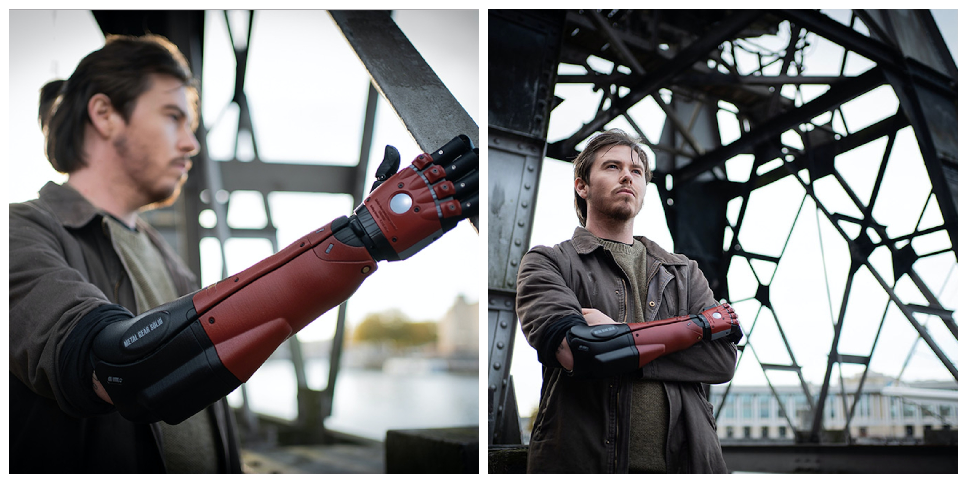 Konami teamed up with Open Bionic, to launch a red and black 3D printed bionic arm inspired by the Metal Gear Solid (MGS) video game character Venom Snake. Photo via Open Bionic.