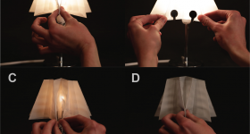Featured image shows the research team's 3D printed deformable lampshade. Photo via MIT.