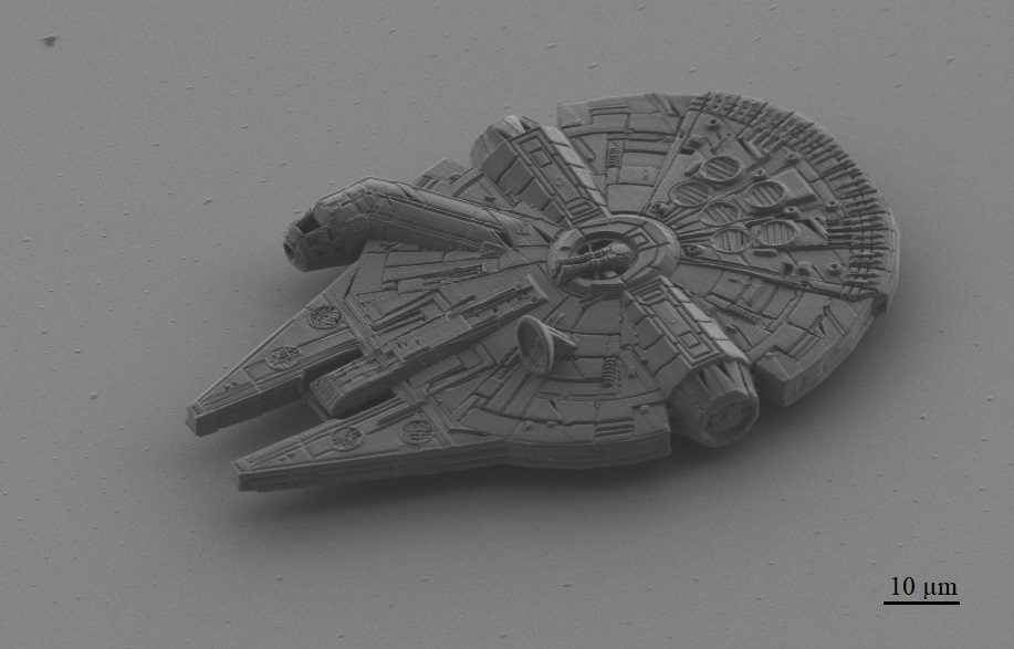 The Grenoble-based team tested their 2PP technique using a printed copy of the Millennium Falcon from the Star Wars franchise. Image via Microlight3D.