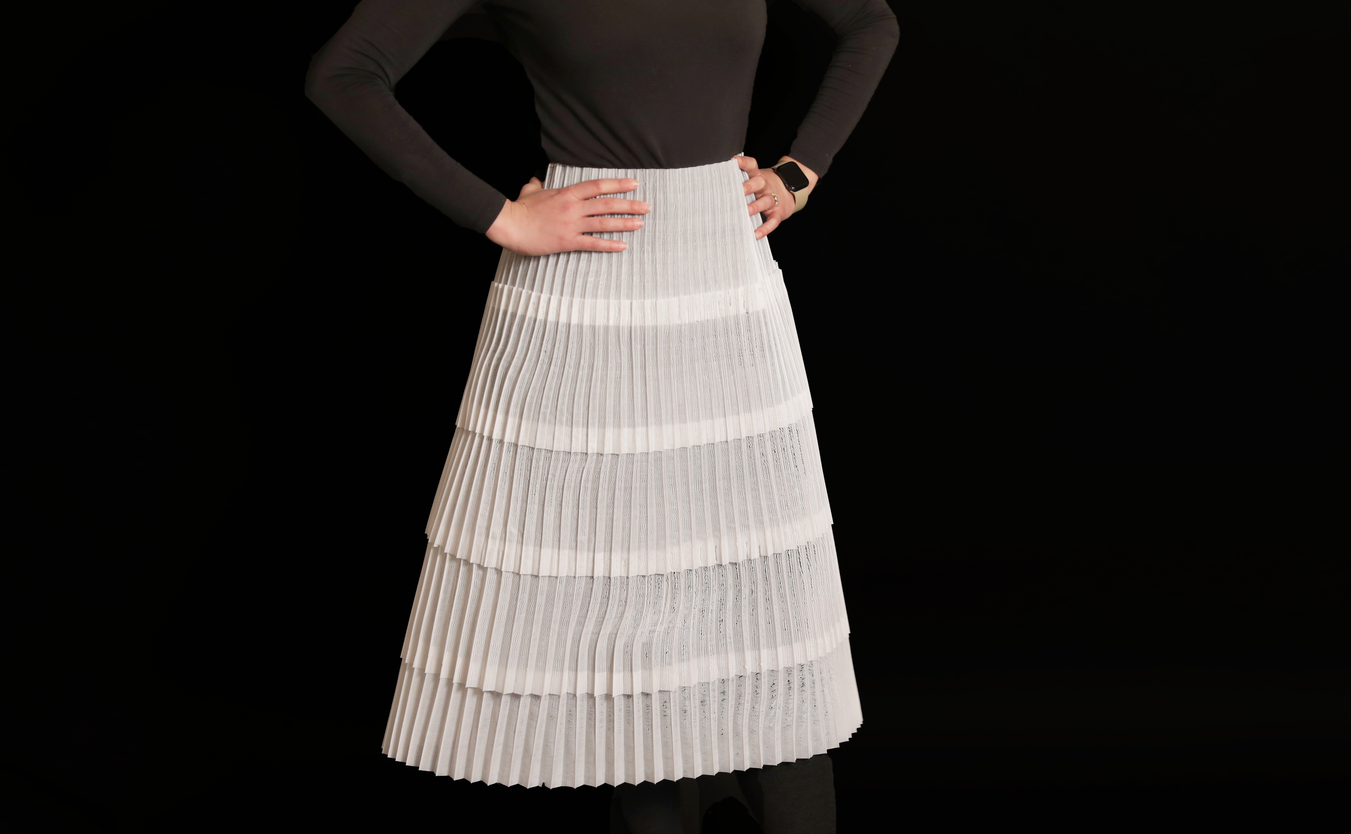 The researchers successfully 3D printed a variety of objects, including a white skirt (pictured). Photo via MIT.