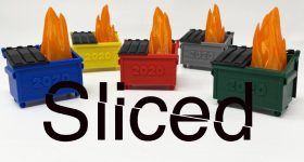 RexRoi3D's 3D printed dumpster fire toys with Sliced logo.