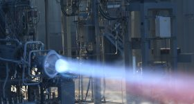 NASA fire-testing its 3D printed engine components. Photo via NASA.