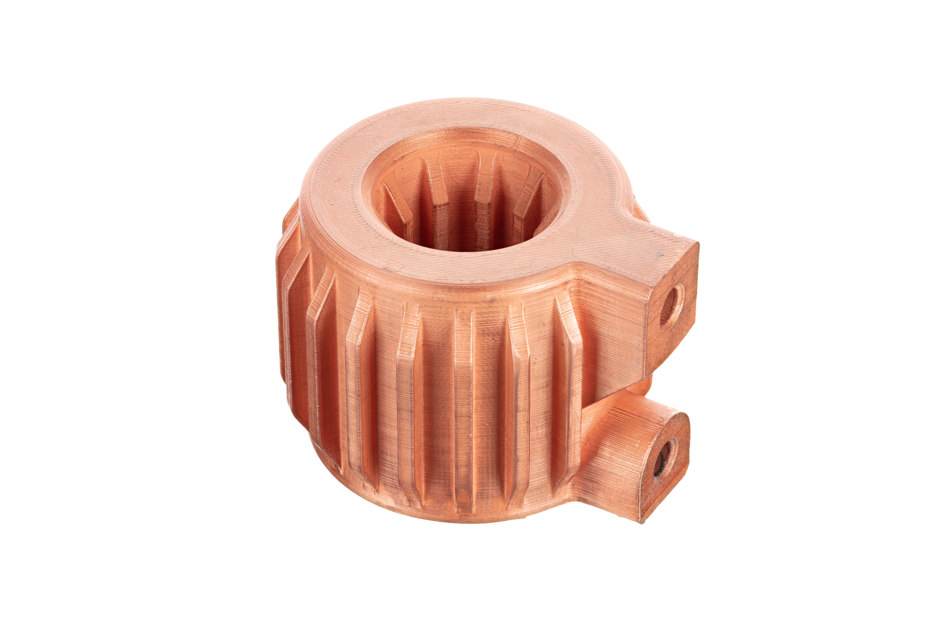 Helical heat exchanger 3D printed in pure copper. Photo via Desktop Metal.