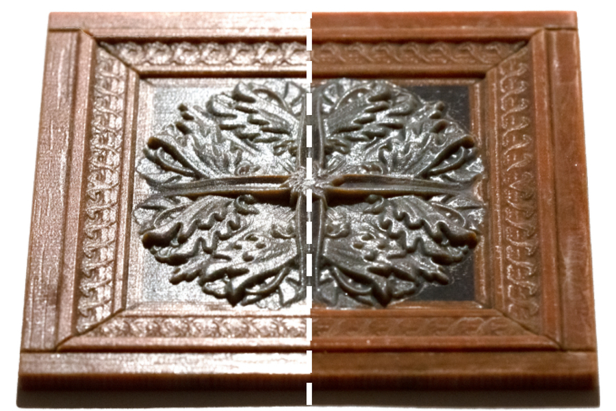 Left: traditional 3D printing which doesn't have varying reflectivity. Left: the researchers' improvements, where one can choose which surfaces are glossy and which are matte. Image via MIT.