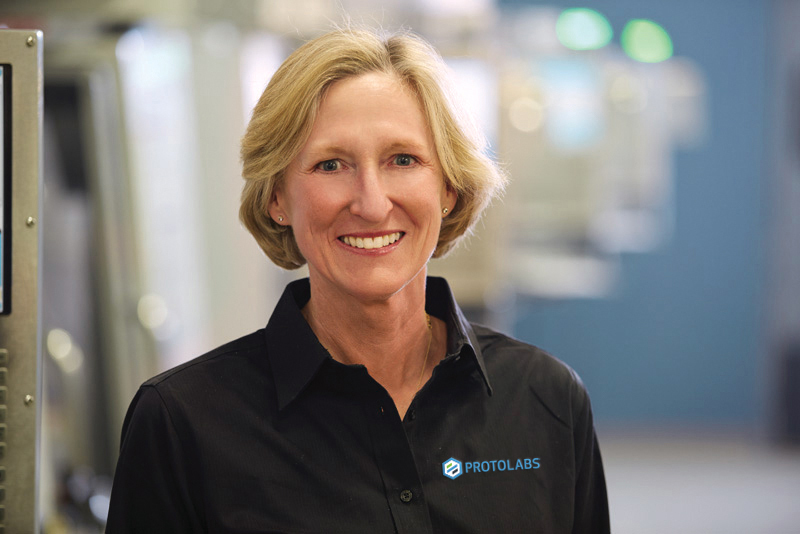 Vicki Holt, President and CEO of Protolabs, is retiring after seven years' leading the firm. Image via Protolabs.