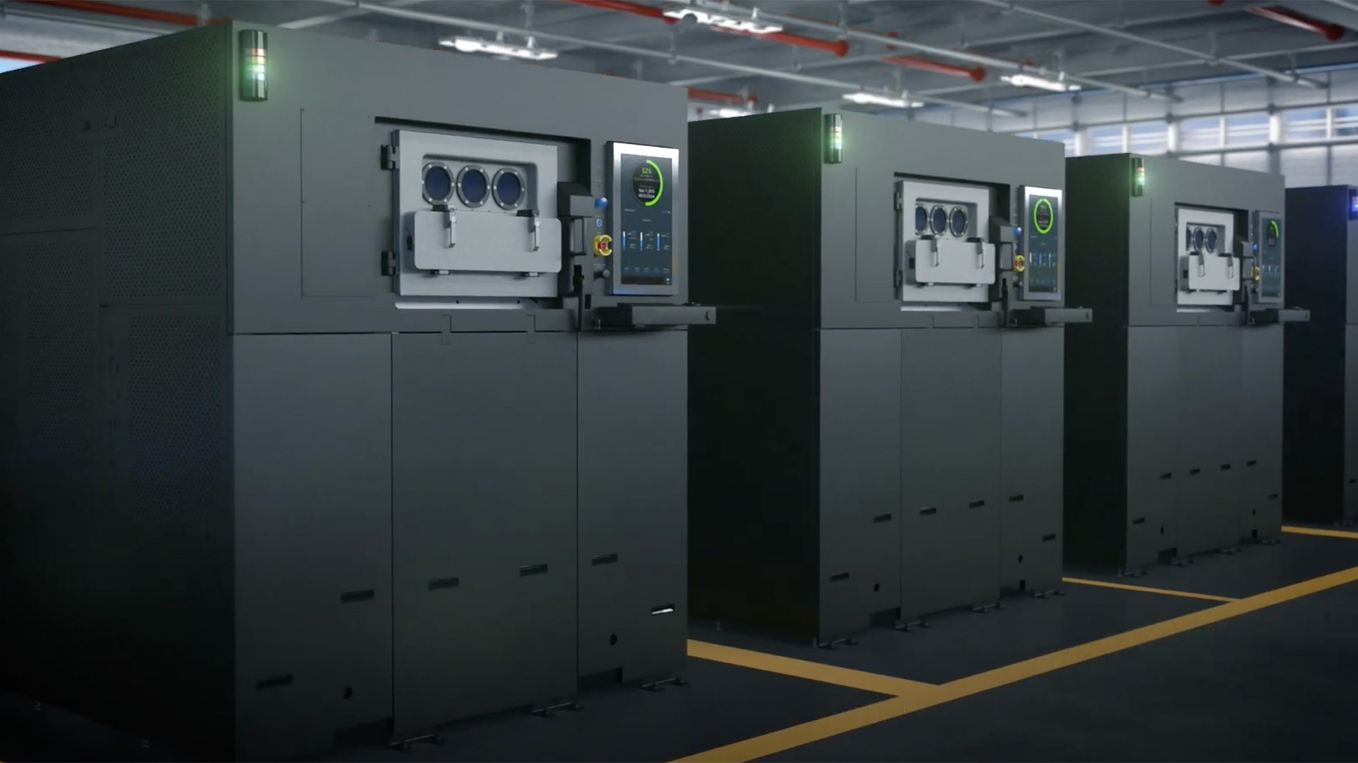Rendering of a Sapphire 3D printer production facility. Image via VELO3D.