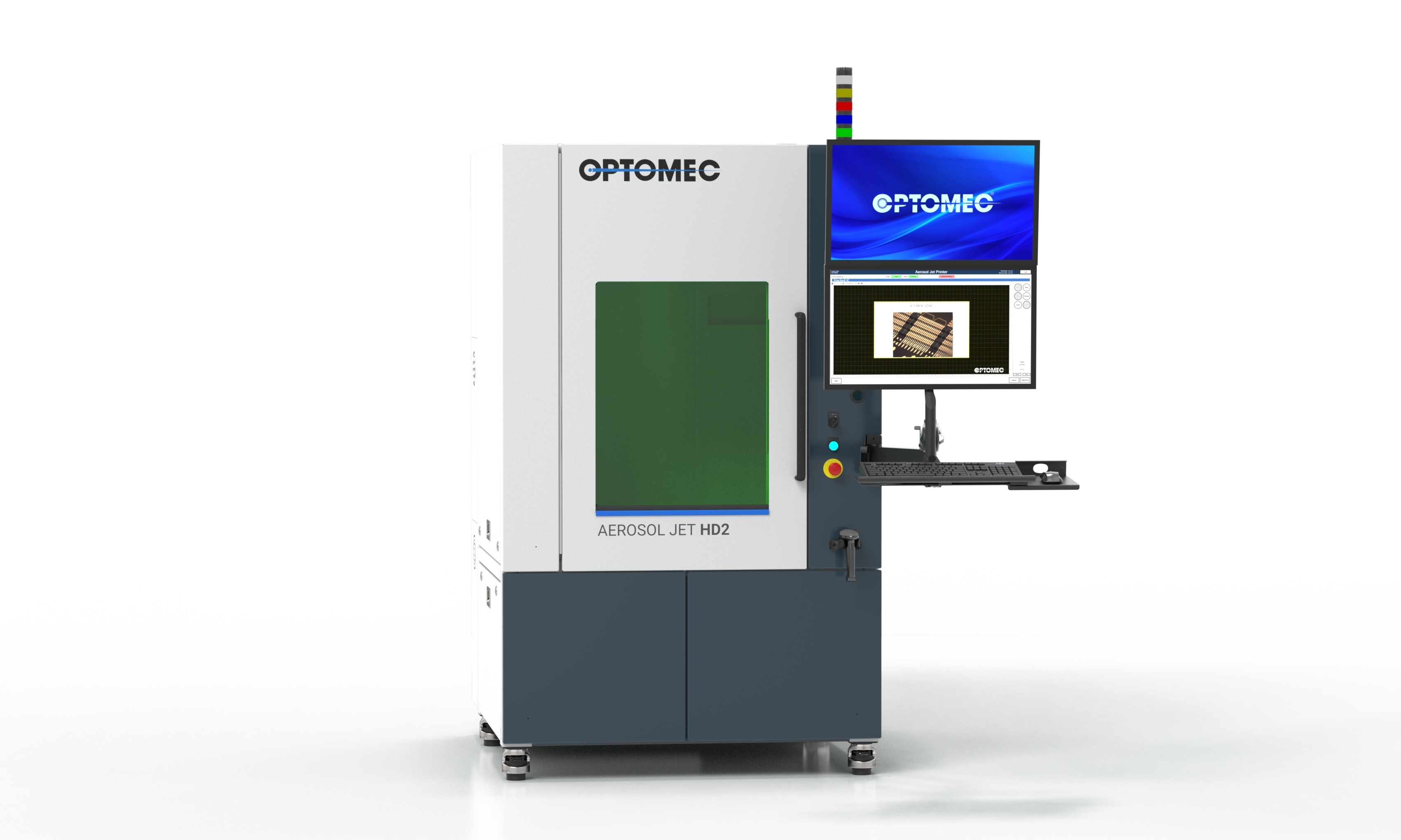 Featured image shows Optomec's new HD2 electronics 3D printer. Photo via Optomec.