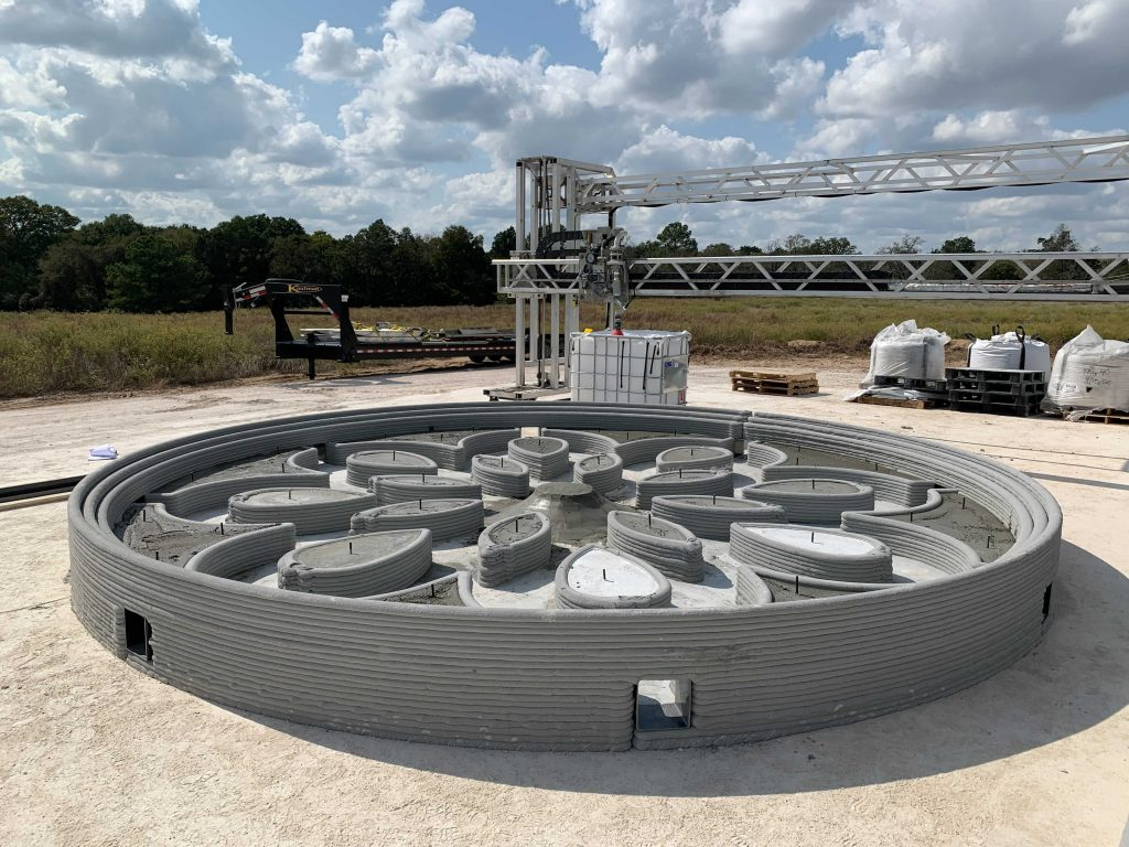 The internal geometry of the 3D printed lunar launch and landing pad. Photo via ICON.