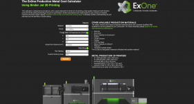 The ExOne Production Metal Cost Calculator. Image via ExOne.