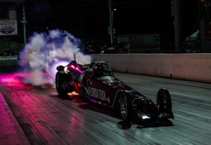 Larsen Motorsports is integrating 3D printed parts into its new 'Gen 6' dragster (current Florida Tech car pictured). Photo via Larsen Motorsports.
