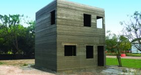 India's first 3D printed two-storey building. Photo via COBOD.