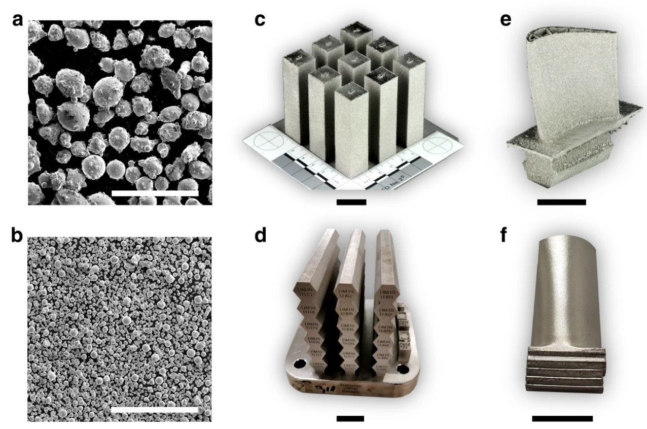 SEM micrographs and images of the newly developed superalloy printed using EBM (top row) and SLM (bottom row). Image via UC Santa Barbara.