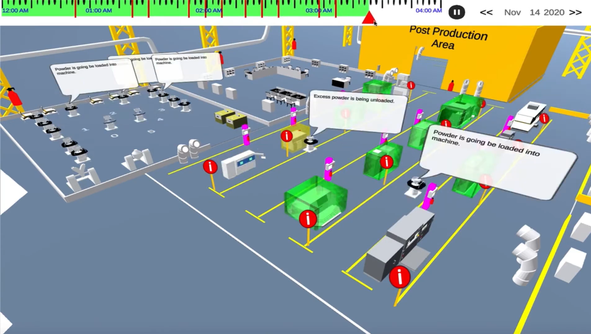 Synoptik's virtual 3D space can be used to visualize a manufacturing facility. Image via Gravity Pull Systems.