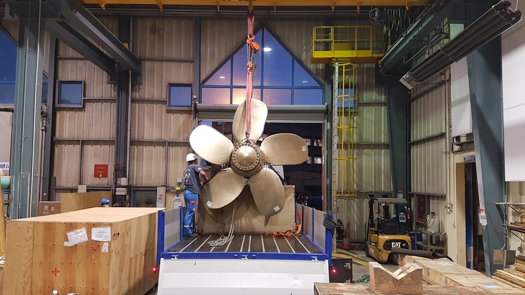 The 3D printed propeller. Photo via Naval Group.