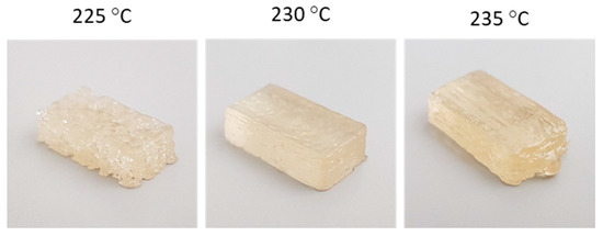 Pictures of the 3D printed SH-TPU samples of approximately 10 × 20 × 5 mm. Image via Recent Advances in Self-Healing Polymers.
