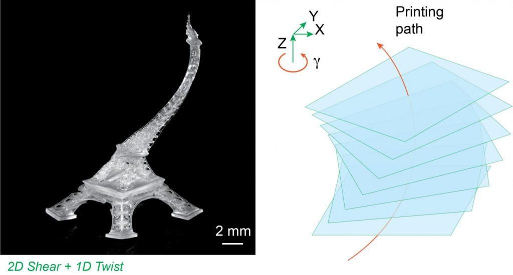 A dynamically morphed Eiffel Tower model printed on the Northwestern 3D printer. Photo via Northwestern University.