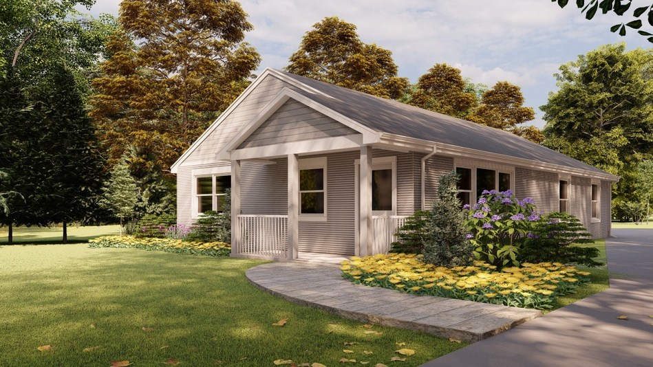 The first commercially available 3D printed house in the US retails at $299,999. Photo via SQ4D.