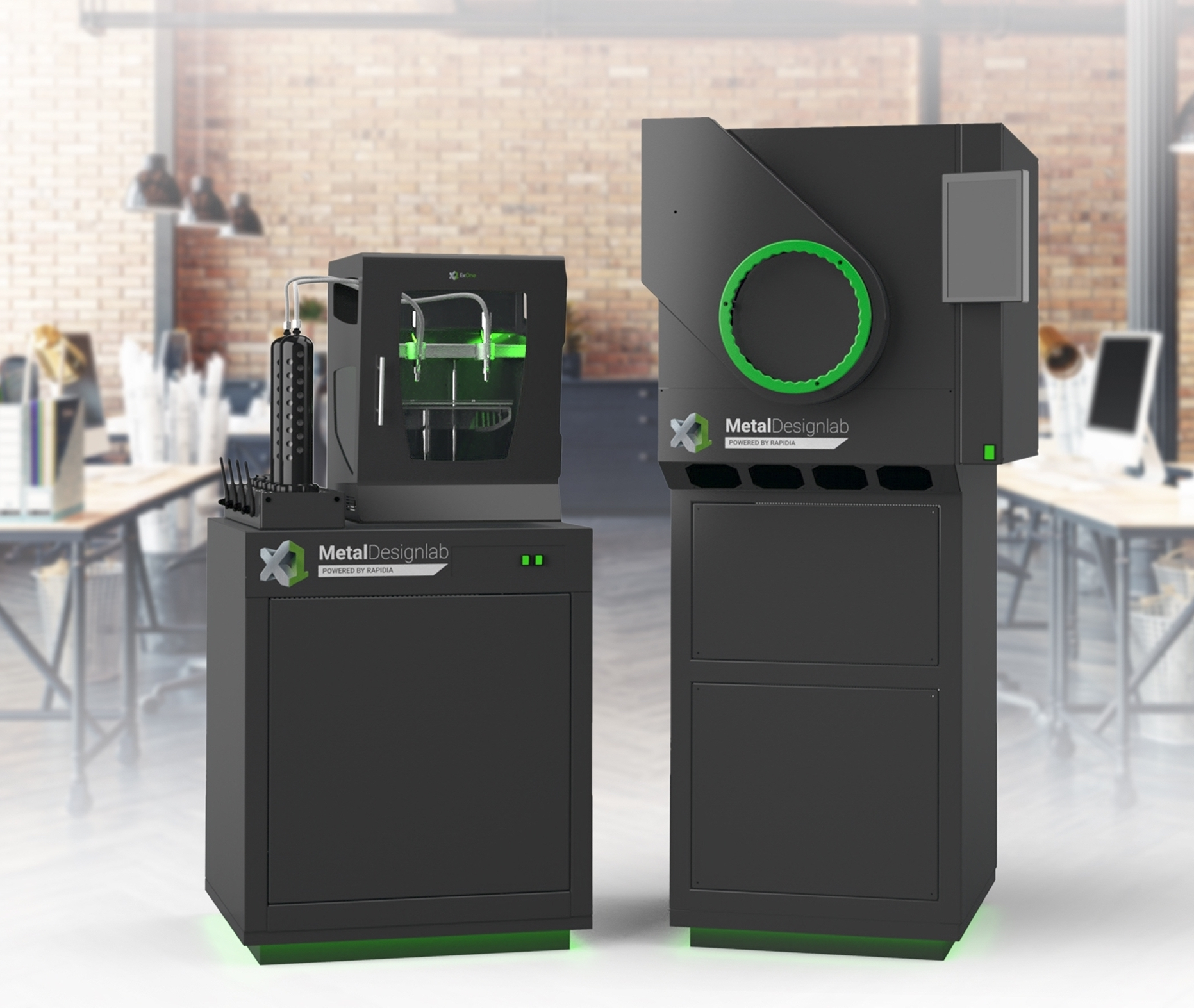A concept image of ExOne's new Designlab 3D printer and X1F furnace.