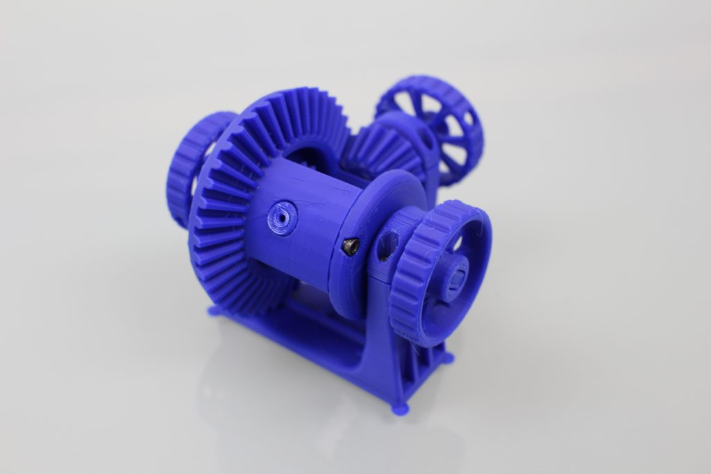 Differential gear system test. Photo by 3D Printing Industry.