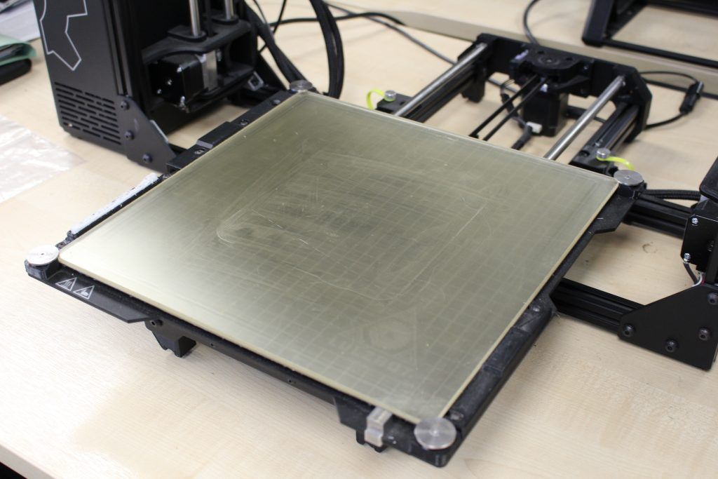 The LulzBot TAZ Workhorse's build plate. Photo by 3D Printing Industry.