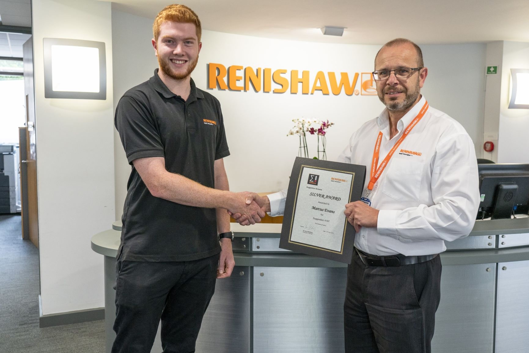 Marcus Evans (Left) is a Mechanical Engineer Apprentice at Renishaw. Image via Renishaw.