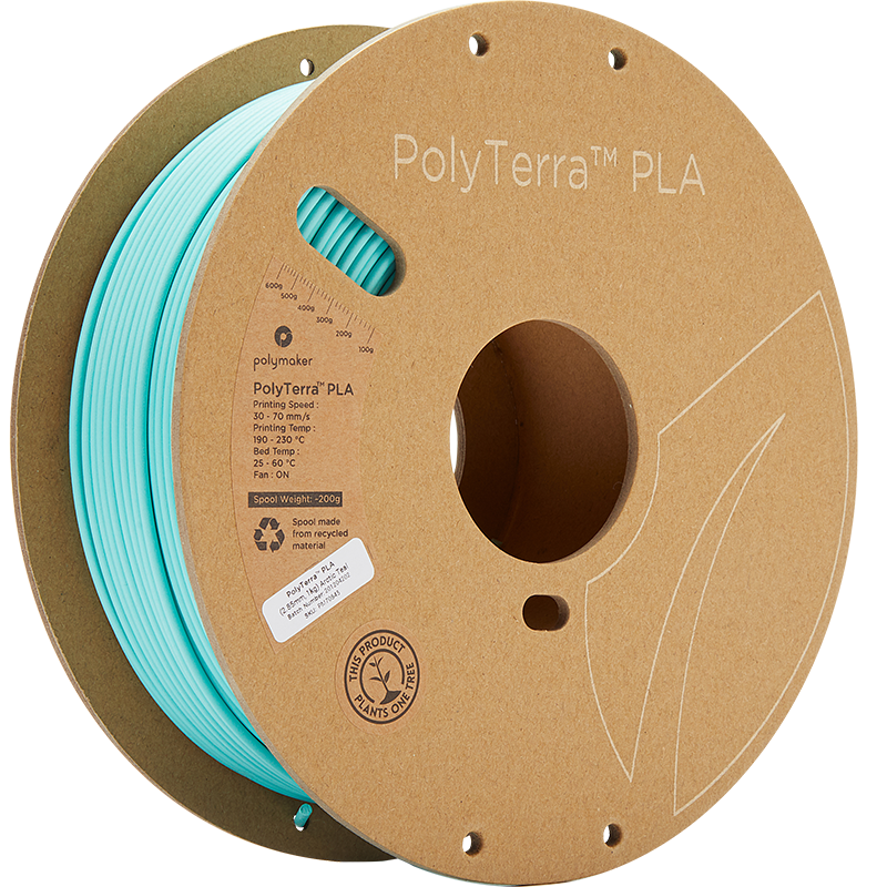PolyTerra PLA is wound on a recycled cardboard spool with recycled labels and outer packaging. Photo via Polymaker.