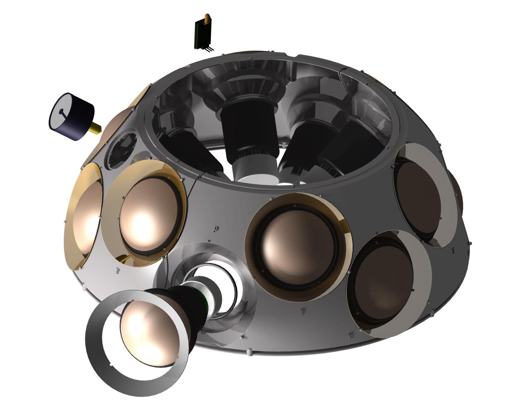 A render of the 3D printed DOM sphere to be installed on the ocean floor. Image via Weerg