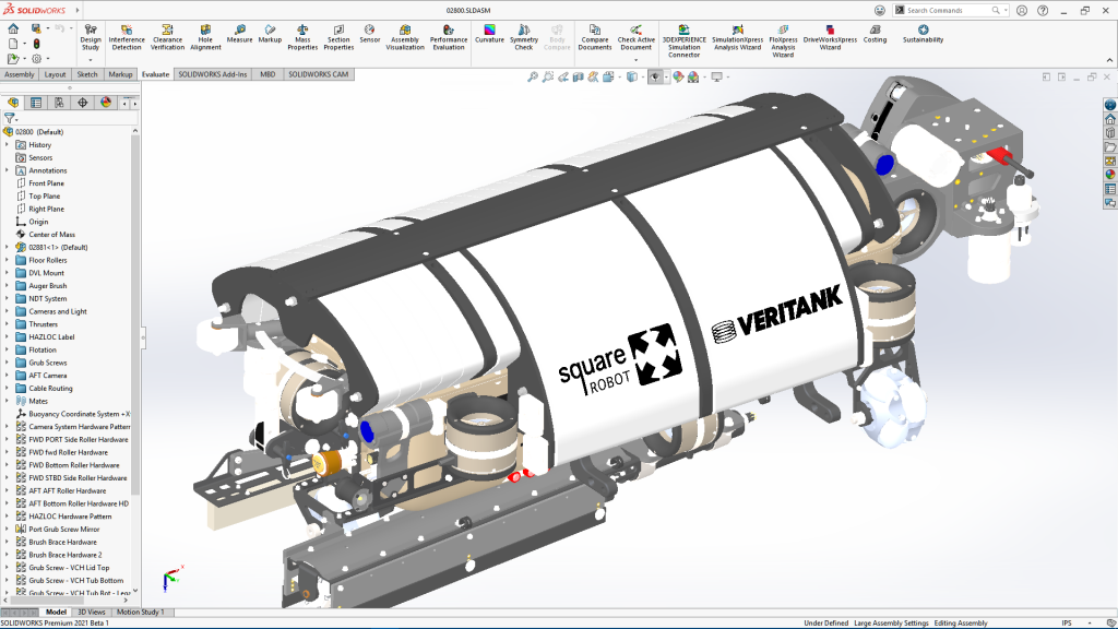 The SOLIDWORKS software UI.