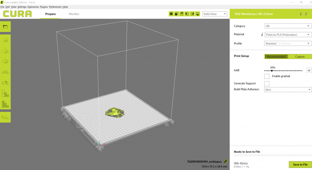 The Cura LulzBot Edition UI. Image by 3D Printing Industry.