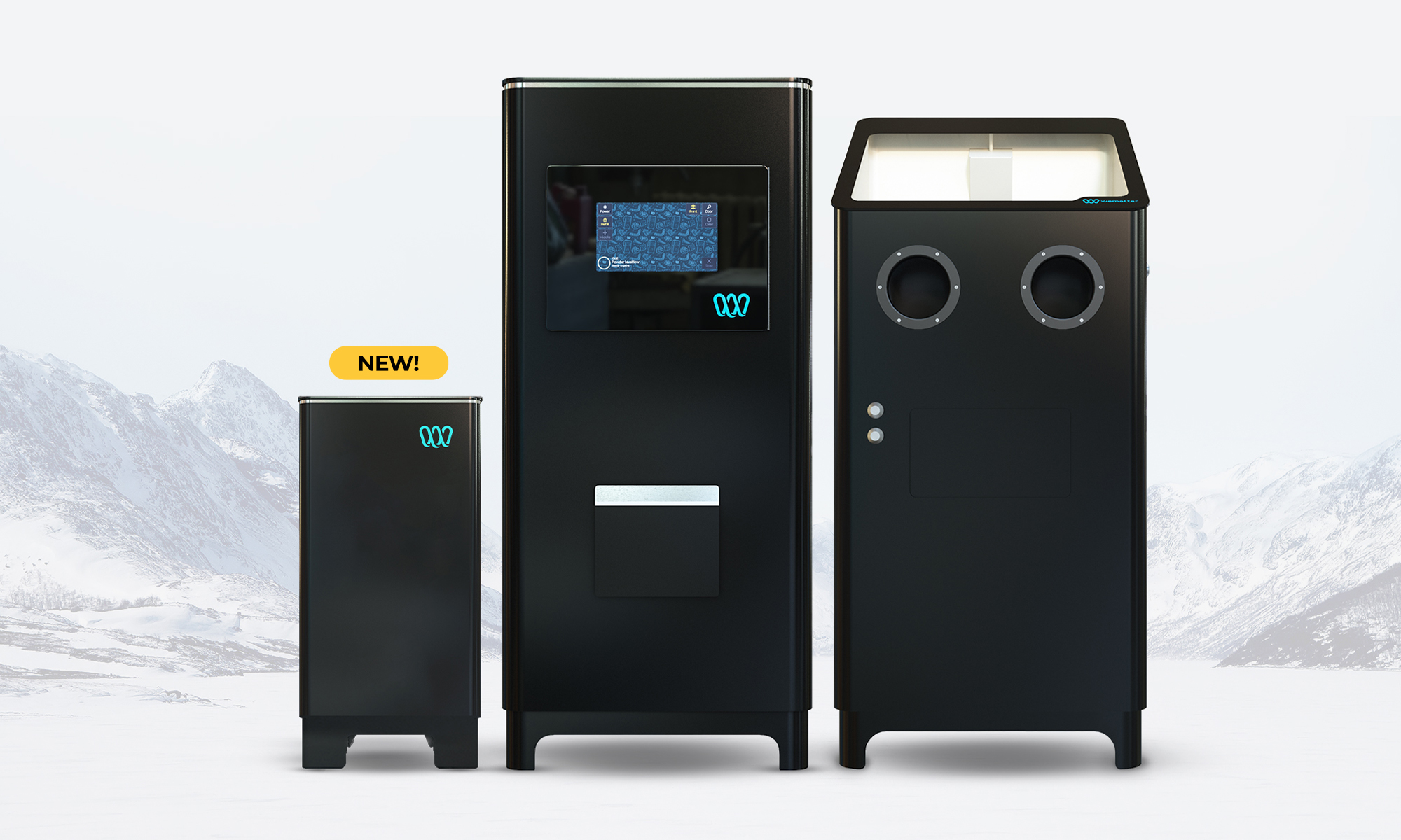 The Wematter Atmosphere, Gravity 3D printer, and Density cleaning cabinet.