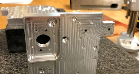 A photo of Fabrisonic's 3D printed heat exchanger. Photo via Fabrisonic.