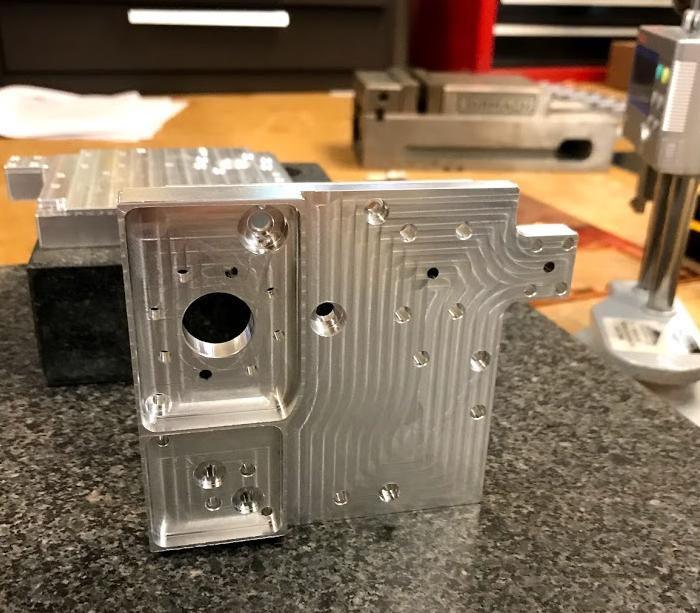 A photo of Fabrisonic's 3D printed heat exchanger. Photo via Fabrisonic.