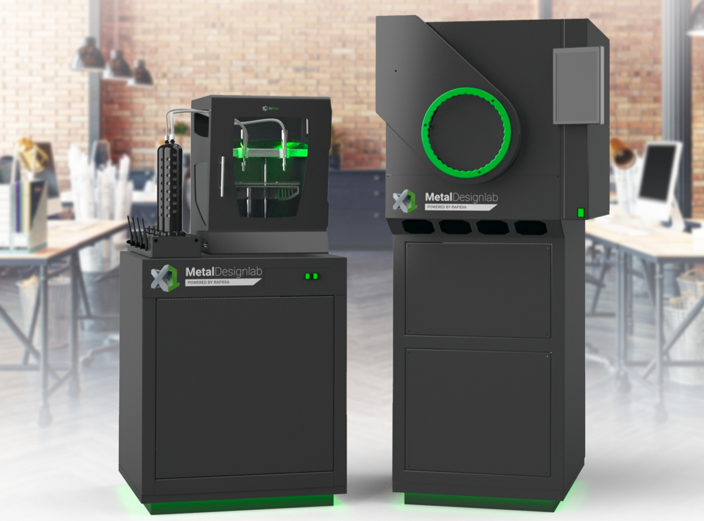 A concept image of ExOne's new Designlab 3D printer and X1F furnace