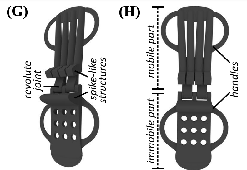 A diagram outlining the layout of the Kiel researchers' 3D printed wrist splint.