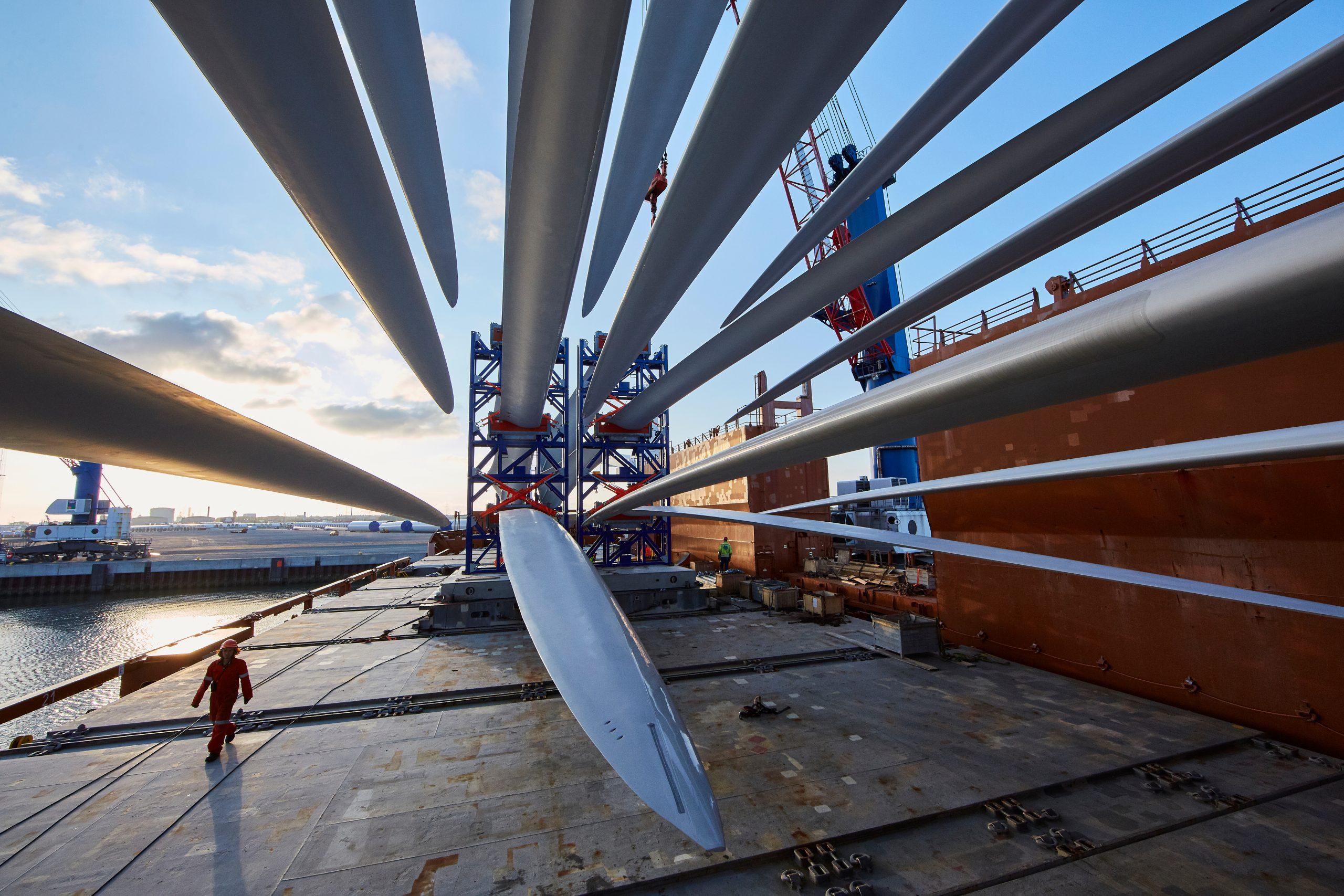 Turbine blades heading for Block Island offshore wind farm.
