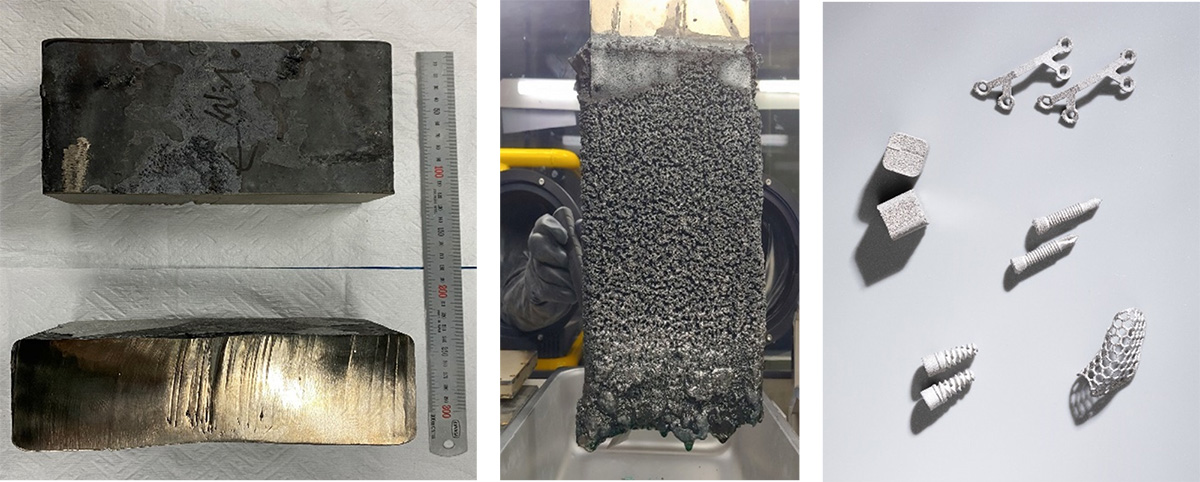 20kg titanium metal ingot produced by ASM (left), Creation of Ti metal powder (centre), HANA AMT 3D-printed metal products (right). Image via ASM.