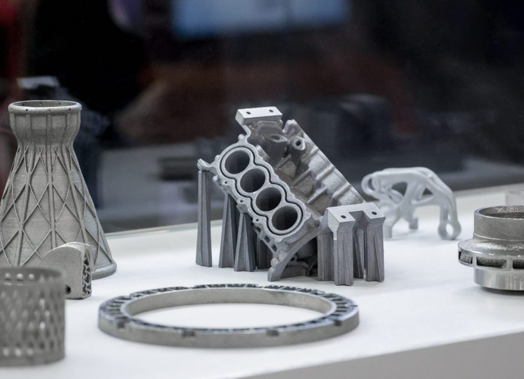 A set of metal 3D printed parts produced using DMLS, SLM, SLS technology.