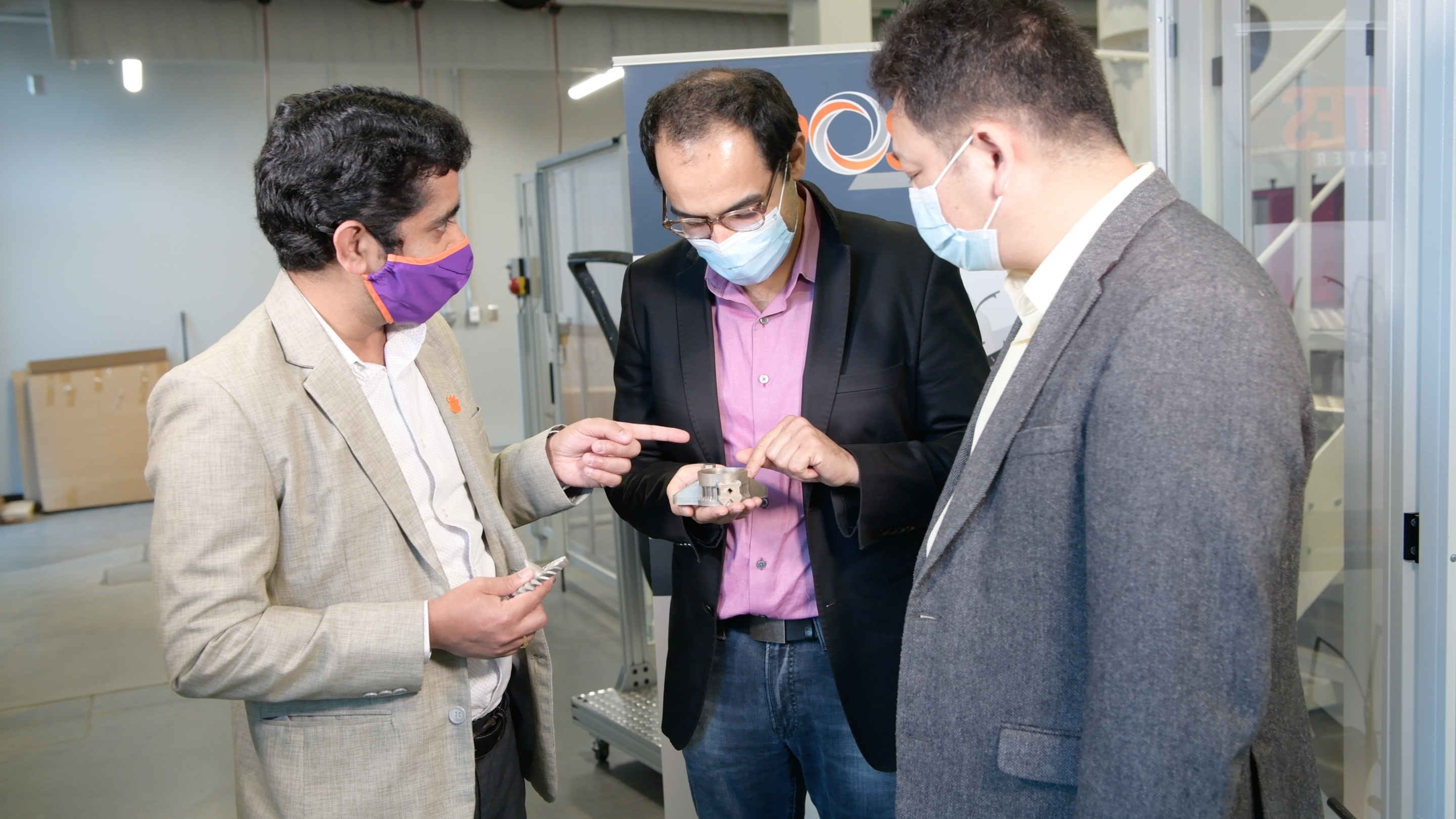 Clemson University project leaders Srikanth Pilla, Fadi Abdeljawad and Gang Li (left to right) as well as Shunyu Liu and Rahul Rai (not pictured) will drive research from the Clemson Composites Center in Greenville. Photo via Clemson University.