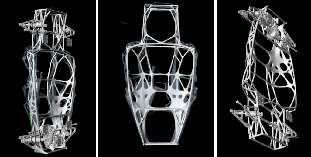 PIX's generatively designed chassis structures. Image via PIX.