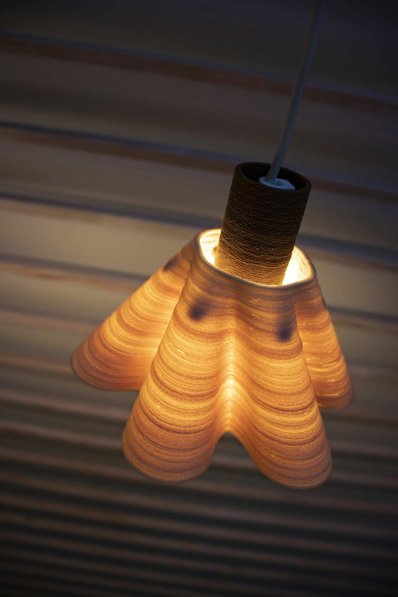 Lamp shade 3D printed from the cellulose-based materials by FDM. Photo via NOVUM.