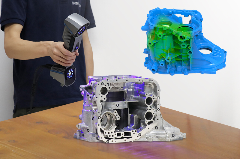 3D scanning mechanical components with the FreeScan UE. Image via Shining 3D.