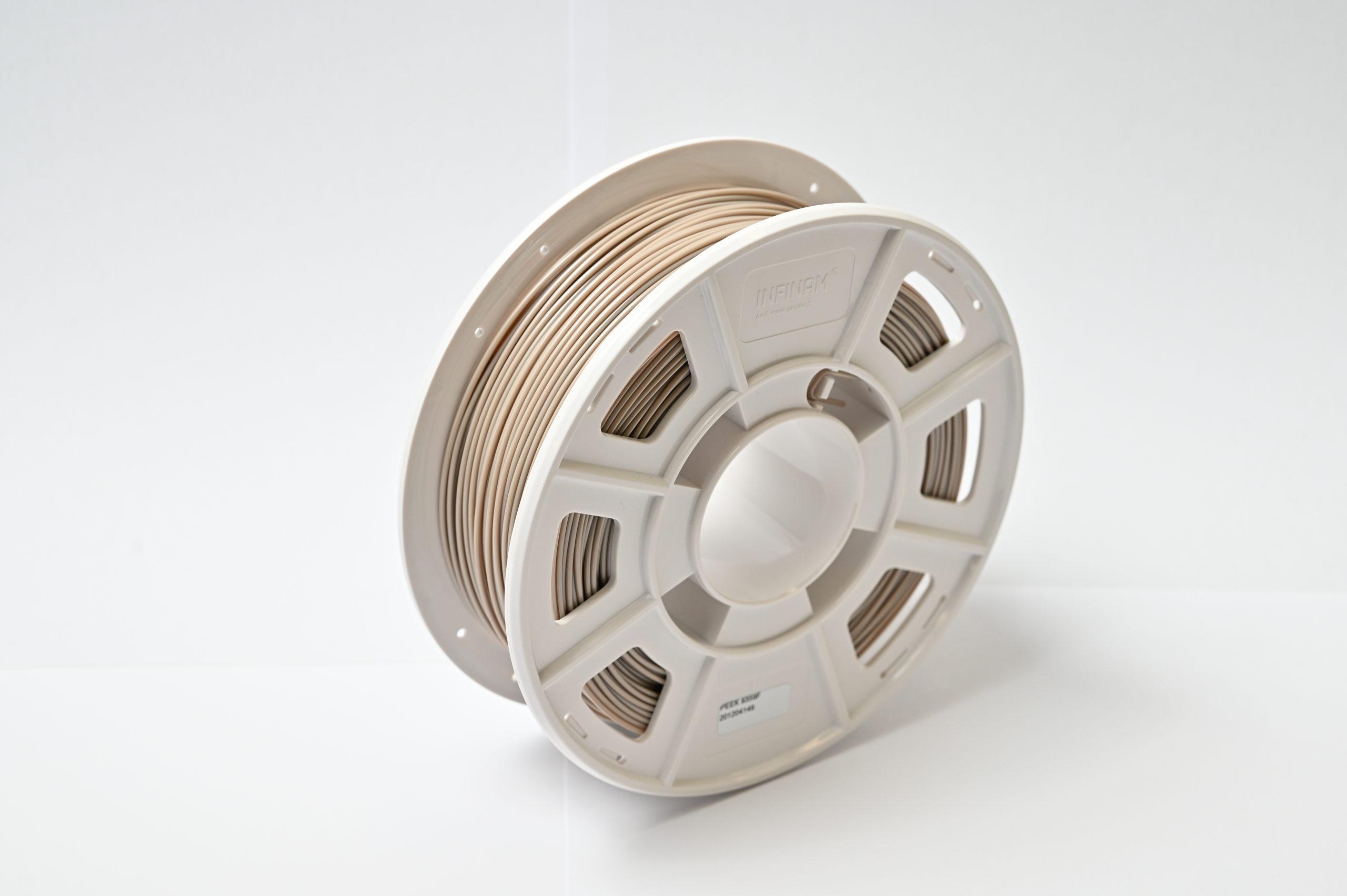 INFINAM PEEK 9359 F filament spool. Photo via Evonik.